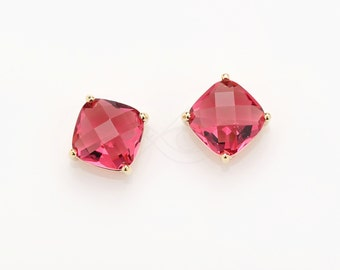 2054011 / Ruby / 16k Gold Plated Brass Framed Glass Connector 8mm x 8mm / 0.9g / 2pcs