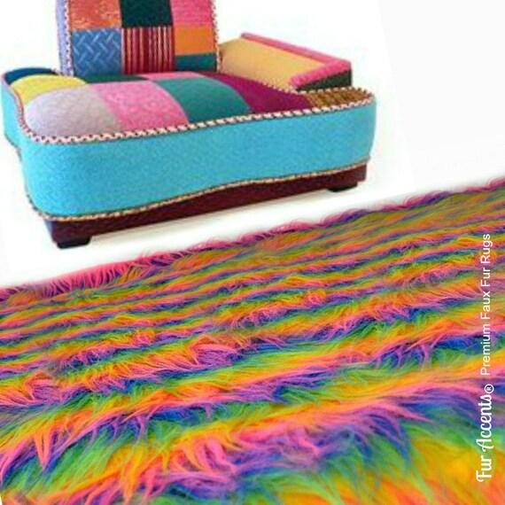 Shaggy Rainbow Area Rug Premium Faux Fur Plush By FurAccents