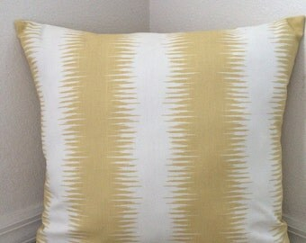 CLEARANCE Safron Yellow/White Stripes Pillow Cover, Decorative Pillow Cover, 20''x20''