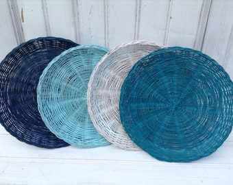 Wicker Paper Plate Holders FOUR Picnic Colorful Painted Upcycled, Navy, Teal, White, Aqua, Summer Outdoor Dining