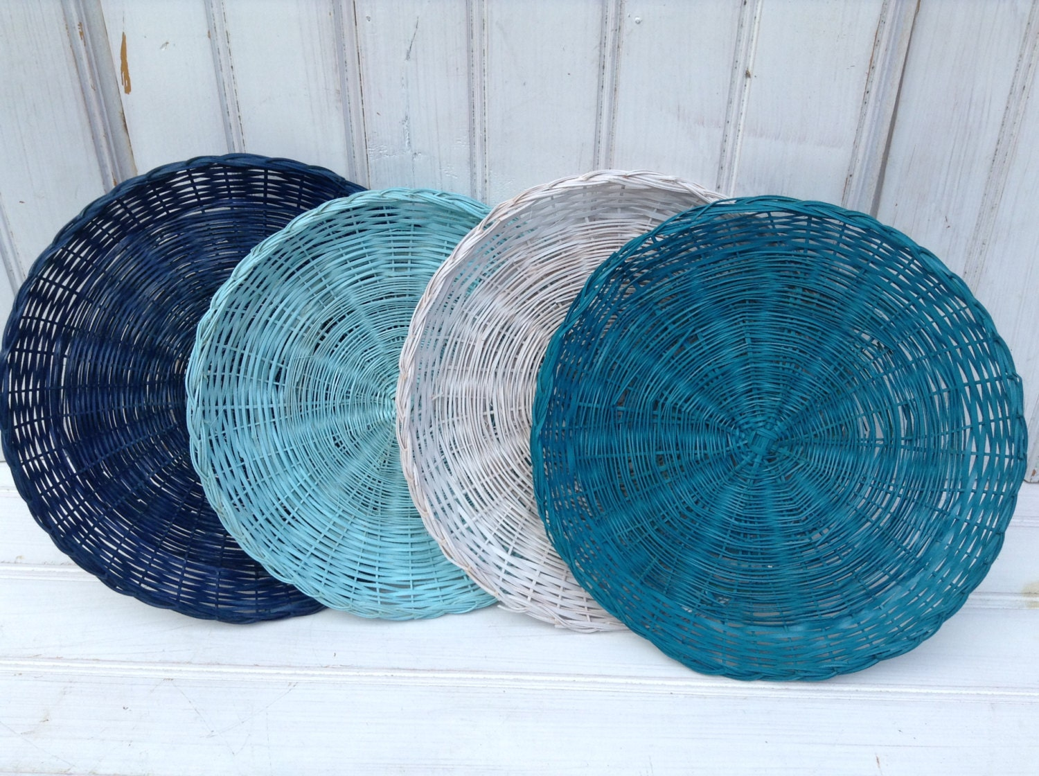 wicker paper plate holders four picnic colorful painted. Black Bedroom Furniture Sets. Home Design Ideas