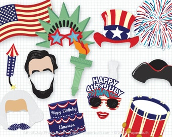 Printable 4th of July Photo Booth Props, Photobooth Props, July 4th Party, Patriotic Props, Uncle Sam America, Fireworks, Red white and blue
