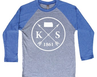 Homeland Tees Kansas Arrow Tri-Blend Raglan Baseball Shirt