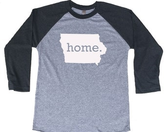 Homeland Tees Iowa Home Tri-Blend Raglan Baseball Shirt