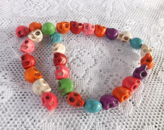 Skull beads 30 Color Skull Beads 13x10mm  Mixed Color beads