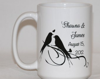 Love Birds Wedding Gift Coffee Mug - Personalized Established Est - Gifts for Couple - Anniversary Present for Wife - Birds on a Branch