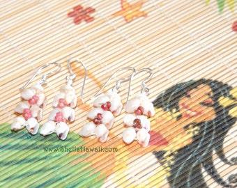 Set of 2 pairs Momi & Kahelelani shells / Heliconia style earrings