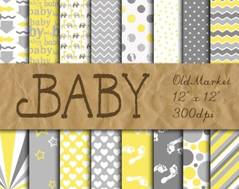 Baby Digital Paper in Yellow and Gray - Digital Paper Pack - 16 Designs - 12in x 12in - Commercial Use - INSTANT DOWNLOAD