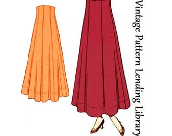 1918 Ladies Seven Gored Skirt - Reproduction Sewing Pattern #E6189