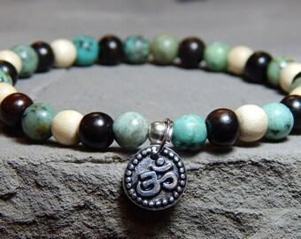 Om Bracelet, Gemstone Bracelet, Wood Bracelet, Yoga Bracelet, Simple Bracelet, Om Charm, Bracelet Beaded Bracelet Yoga Jewelry, Zen Bracelet