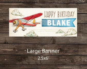 Birthday Banner, Plane Party Banner, Airplane Birthday Party, Airplane Party Banner, Airplane Banner, Airplane Birthday Party Banner (vinyl)