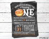1st Birthday Pumpkin Invitation // Personalized Printable Our Little Monster 1st Birthday Invitation // Pumpkin Invitation // 1st Birthday