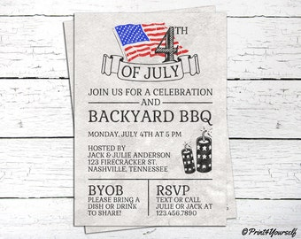 4th of July Invite // Personalized Printable Light Grey 4th of July BBQ Invitation // Fourth of july Invite // Independence day Invite