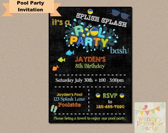 002. Pool Party / Swimming Birthday Invitation (Printable Template)