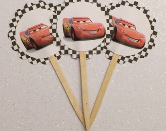 Red Cars cupcake toppers