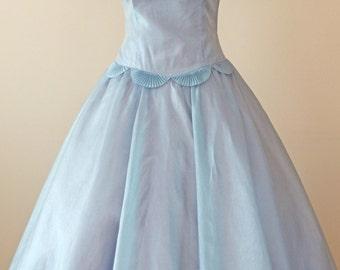 50s Silk Sky Blue Party Dress