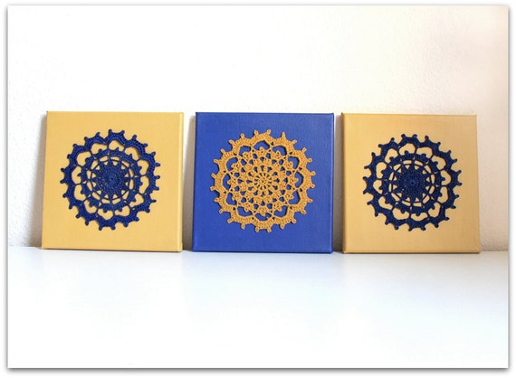 Wall Art Mandala, Crochet Wall Hanging, Wall Hanging Decor, Crochet Art on canvas