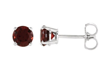 14K Gold Garnet Earrings / White Gold Garnet Stud Earrings / Garnet Earrings Studs Round