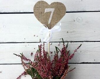 Heart table numbers, burlap heart numbers, rustic wedding table numbers, burlap numbers