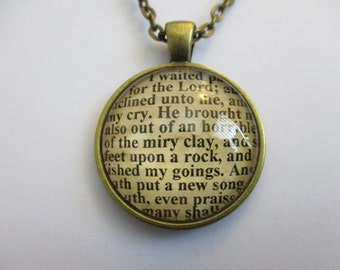 Scripture Necklace Bible Verse Psalm 40:1-3 I Waited Patiently For The Lord