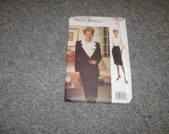 Half Price Sale 1993 UNCUT FACTORY FOLD Vogue Pattern 8602 The Vogue Woman Dress And Jacket For Sizes 18 And 20 And 22 Vintage Clothing