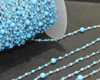 Turquoise Rosary Chain sold by FOOT, Wire Wrapped Beaded Chain, Smooth Round 3 & 5 mm Beads Linked, 53AA08