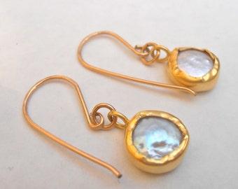 Dangle gold Pearl Bezel earrings, fresh water pearls gold filled wrapped earrings - handmade.