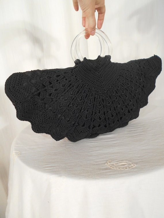 1940s Handbags and Purses History Vintage 1940s Handbag / 40s Black Purse / 30s Knit Crochet Purse / WW2 WWI Rockabilly Handbag / Large Black Lucite Handbag Black Purse $52.00 AT vintagedancer.com