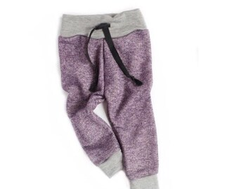 Eggplant baby girl jogger sweats | purple baby sweatpants | french terry sweats | baby sweat pants
