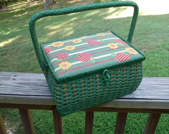 1960s Singer Wicker Sewing Basket or Box, Apple & Daisy Polka Dot Fabric, Green Vinyl Wicker, Made Exclusively for Singer, Vintage Sewing