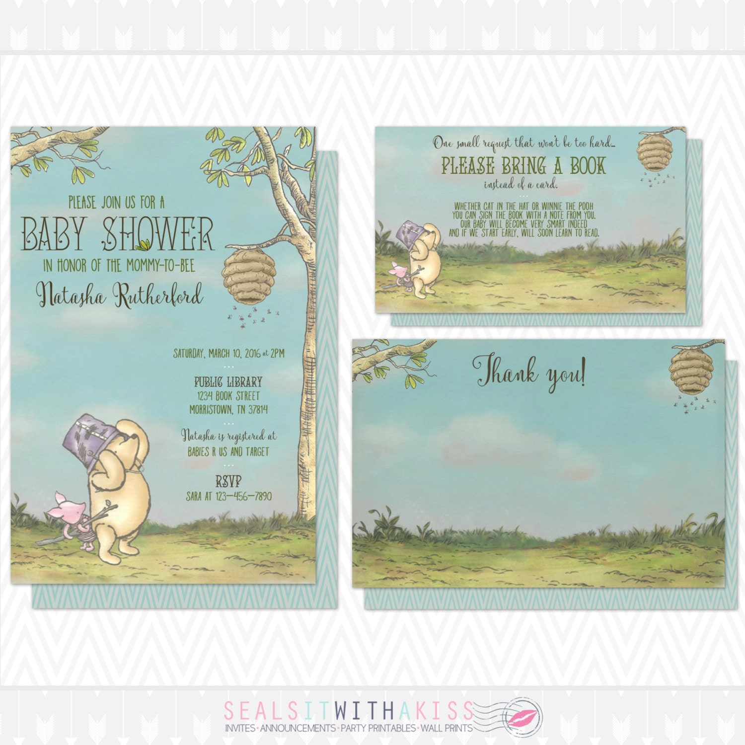 classic winnie the pooh baby shower invitation by sealsitwithakiss