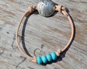 Howlite . Leather Bracelet . Sterling Handmade Button . In The Forest Button . Boho . Glass . Wedding Gift .Bracelet. Boho .