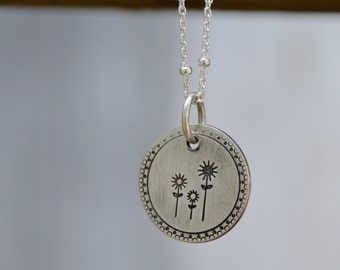 WildFlowers // Sterling Necklace . Hand Stamped  . Rustic . Earthy . Boho