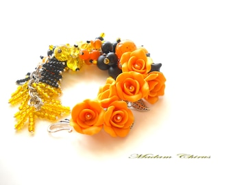 Bracelet made of polymer clay, bracelet with roses. Orange and yellow roses with pearls bracelet, autumn decoration