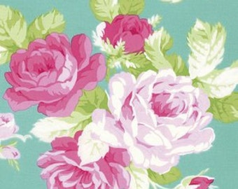BIG Rose In Jade Curtains W/Lining. 2 Panels of 40x84. Girls Big Rose Curtains. Shabby Chic Curtains. Nursery/Baby Curtains.Vintage Rose