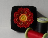 Handmade Pincushion Felted Wool Black & Red Floral Mini Square Pincushion