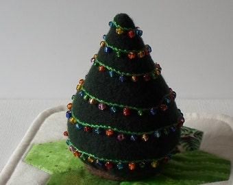 Handmade Christmas Tree Pincushion Felted Wool Dark Green Beaded Pincushion
