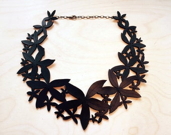 Laser cut Leather Vanilla Statement Neckpiece