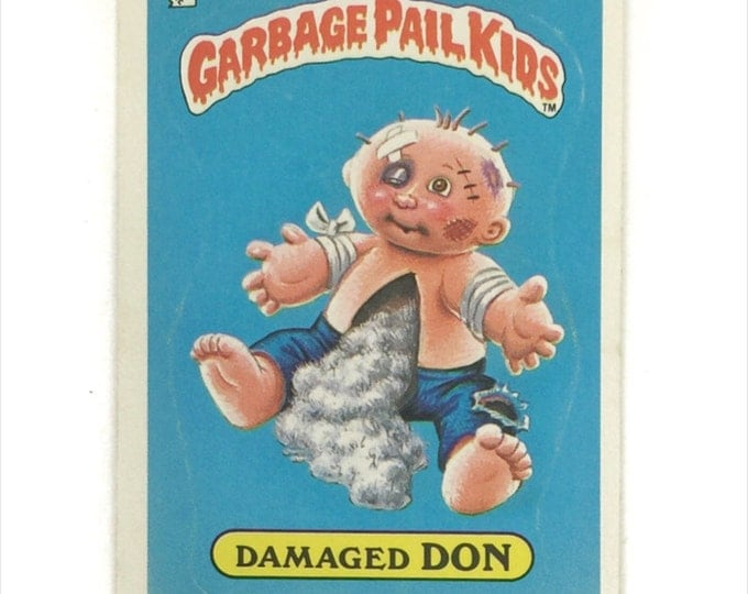 Vintage 80s Garbage Pail Kids Series 1 Damaged Don 40b Glossy Sticker Trading CardVintage 80s Damaged Don