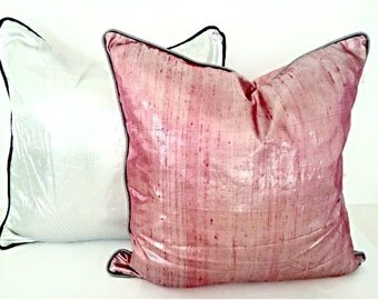 "Pink Silk Throw Pillow Cover 20"" by 20"", Pink Metalize Cushion, Free Shipping"