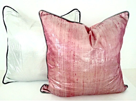 Pink Silk Throw Pillows : Pink Silk Throw Pillow Cover 20 by 20 Pink