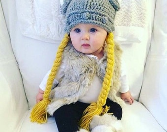 MADE TO ORDER,Crochet hat, The Lady Viking hat, Newborn to Lg. Adult, with braids