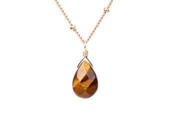 Tiger eye necklace - tigers eye jewelry - cats eye necklace - minimalist necklace - gold tigers eye necklace - silver tigers eye necklace -