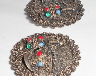 Antique Greek vessel earrings clip on 900 silver earrings coral, emerald and turquoise stones  FREE USA Shipping