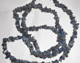 Vintage Lapis Blue Gemstone Nuggets Necklace Tumbled Stone Chip Beads