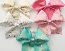 Gold accent hair bow in your choice of color, cheer bow on a pony o, hair bow with gorgeous gold polka dots, huge hairbow, Texas size
