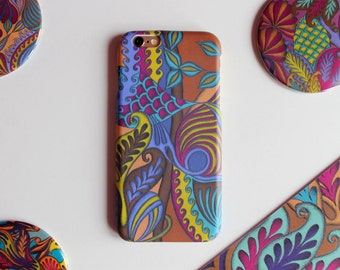 Colourful Patterned iPhone6 Case, Girly Phone Case, Tropical Pattern Phone Cover, Plastic iPhone Case, iPhone 6 Tropical Case,