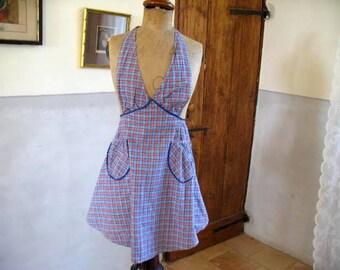 Vintage 1950's check apron with ric rac trim, NOS