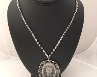 Whiting & Davis Cameo Pendant Necklace - Silvertone - Vintage - Whiting and Davis