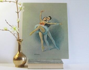 Set of 2 Vintage Ballet Prints by Gina - 11 x 14 Art Prints - Ballet Art Print - Dance Studio Decor - Ballet Wall Decor - Pas de Deux Ballet